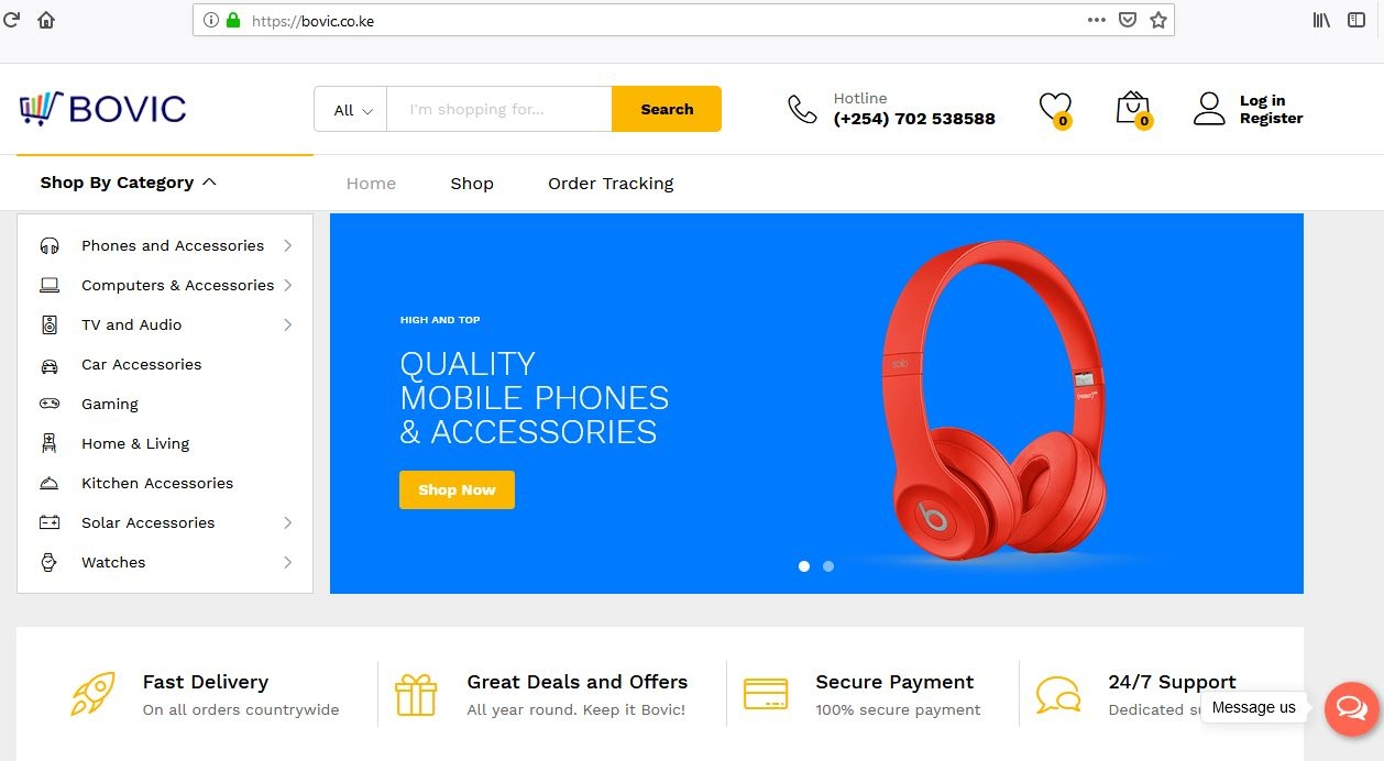 Bovic Ecommerce Home Page